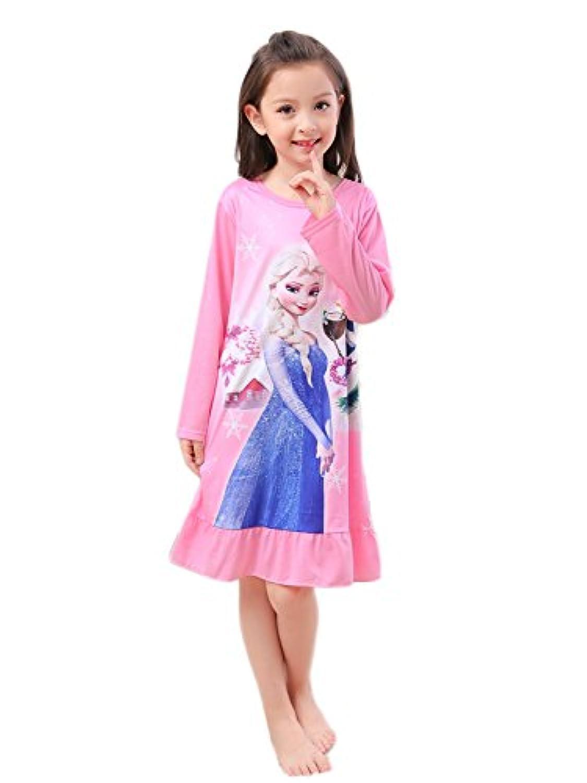 JR 子供 アナと雪 パジャマ ネグリジェ ナイトドレス 長袖 女の子 パジャマ ガールズ ワンピースパジャマ ルームウェア ナイトウェア