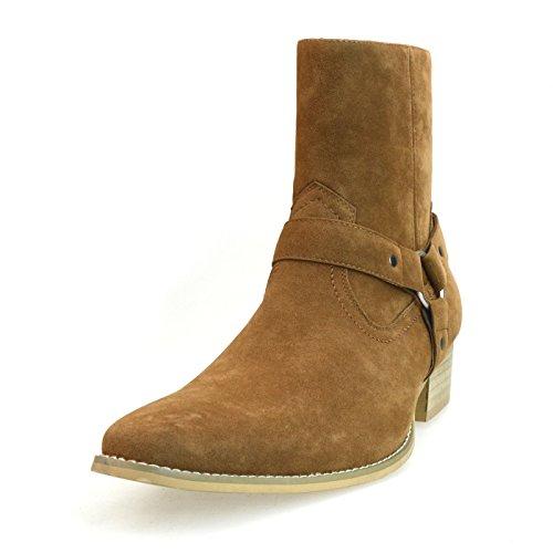[オーナイン] O-NINE [アンバイルシウス] AN ブーツ メンズ リングブーツ チャッカブーツ サイドゴアブーツ ジョッパーブーツ サイドジップ ハイヒール ドレープ プレーントゥ フェイクスエード フェイクスウェード ショートブーツ ベージュ 茶 L(27.0~27.5cm)