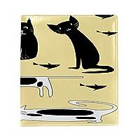 Carrozza ブックカバー 文庫 新書 猫 猫柄 魚 本カバー 16x22cm おしゃれ かわいい PUレザー 革