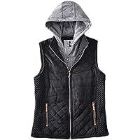UUYUK Women Winter Quilted Sleeveless Zip Up Hooded Gilet Waistcoat Jacket Vest