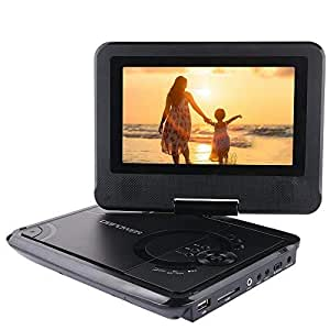 ポータブルDVDプレーヤー 7.5型 DBPOWER 車載 3電源対応 270度回転 リージョンフリー CPRM対応 TVと同期可能 SD/MS/MMCカード/USBに対応 ディスクプレーヤー 3年保証 リモコン/日本語説明書付属 (ブラック)
