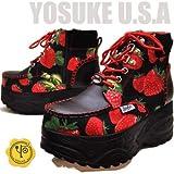 YOSUKE U.S.A ヨースケ 厚底スニーカー ハイカット 厚底ブーツ スニーカーブーツ プラットフォーム いちご柄 ストロベリー 苺