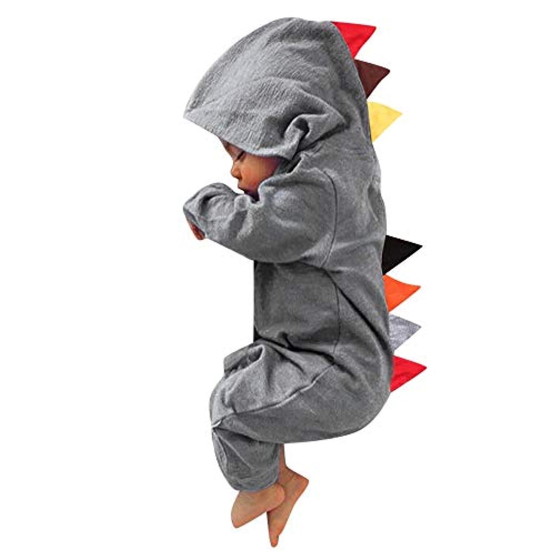 Nicircle ロンパース  連体服 超かわいい恐竜 新生児 ベビー服 赤ちゃんジャンプスーツ 男 女の子 柔らかい フード付き おしゃれ 6?24ヶ月 長袖 Girls&Boys 2018新製品