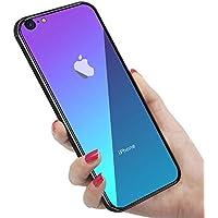 iPhone6Plus ケース iPhone6sPlus ケース 強化ガラス 9H硬度加工 ガラスケース 薄型 全透明グラデーション TPUバンパー 滑り止め 全面保護 ストラップホール付き 指紋防止 耐衝撃