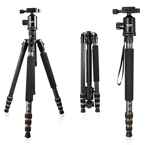 Mactrem 三脚 カーボン 4段 カメラ三脚 コンパクト 自由雲台 一眼レフ ビデオカメラ