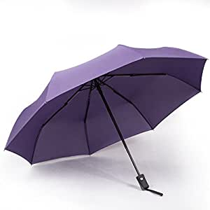 折りたたみ傘 ワンタッチ 自動開閉 耐風撥水 晴雨兼用 8本骨傘 直径100cm 収納カバー付き YURI-shop (パープル)