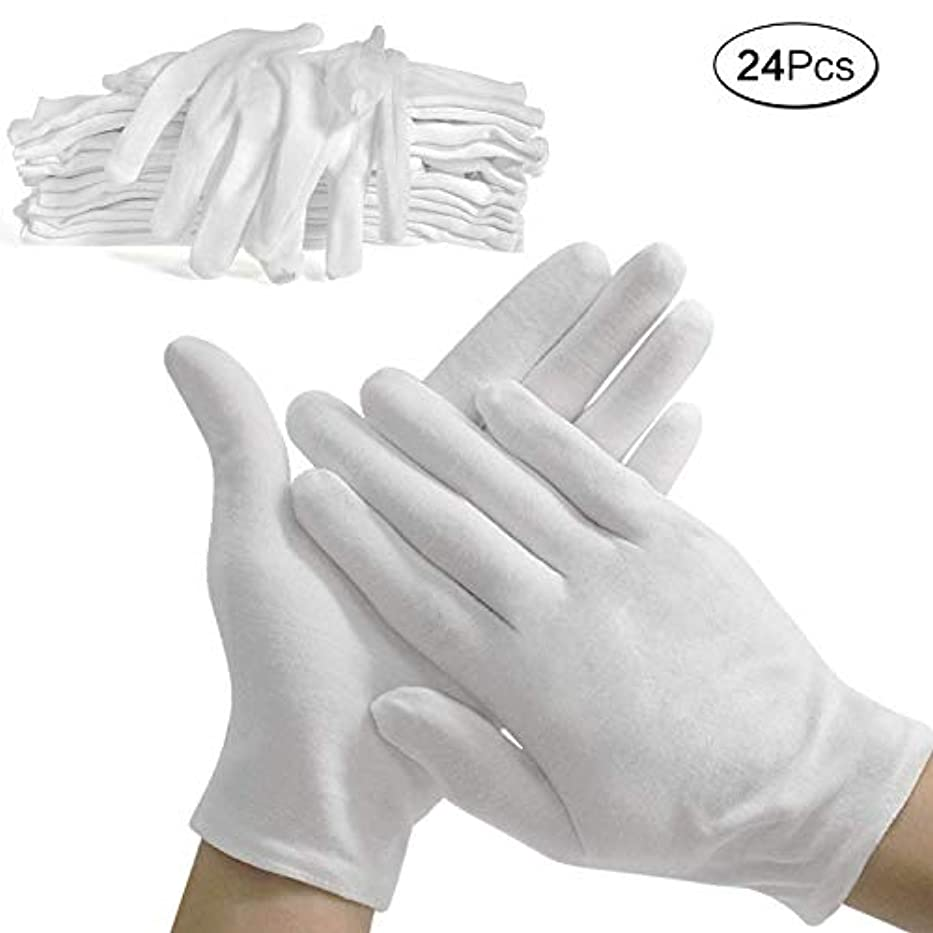 電卓切手属する使い捨て手袋 綿手袋 コットン手袋 純綿100% 薄手 白手袋 メンズ レディース 手荒れ防止 おやすみ 湿疹用 乾燥肌用 保湿用 礼装用 作業用 24PCS(白, L)