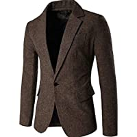 Macondoo Mens Herringbone Long Sleeve One Button Classic-fit Notched Lapel Blazer Jacket