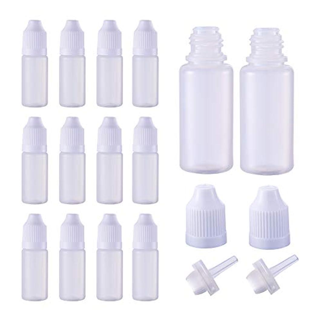 賛辞クック因子BENECREAT 50個セット 10mlドロッパーボトル プラスチック製 いたずら防止蓋つき 液体貯蔵用 点眼剤ボトル アロマボトル 分け詰め ホワイト蓋