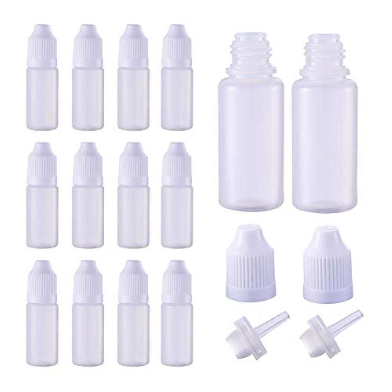 BENECREAT 50個セット 10mlドロッパーボトル プラスチック製 いたずら防止蓋つき 液体貯蔵用 点眼剤ボトル アロマボトル 分け詰め ホワイト蓋
