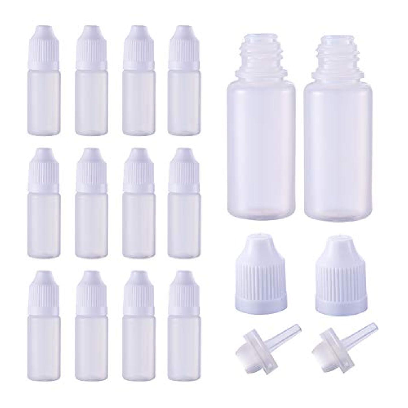 ノーブルトリクル義務的BENECREAT 50個セット 10mlドロッパーボトル プラスチック製 いたずら防止蓋つき 液体貯蔵用 点眼剤ボトル アロマボトル 分け詰め ホワイト蓋