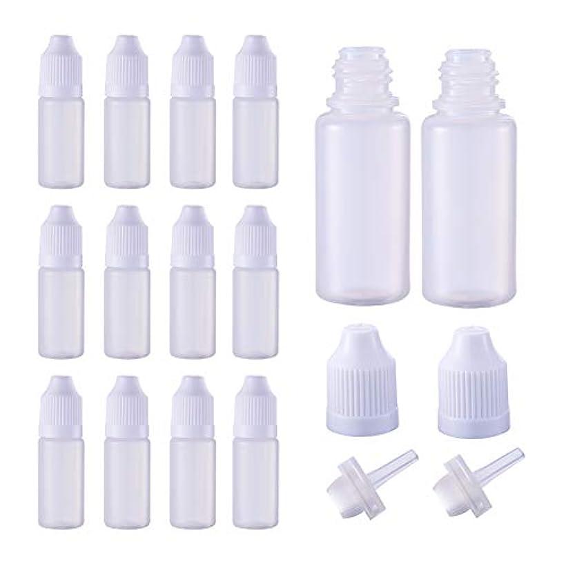 頑固な租界独裁者BENECREAT 50個セット 10mlドロッパーボトル プラスチック製 いたずら防止蓋つき 液体貯蔵用 点眼剤ボトル アロマボトル 分け詰め ホワイト蓋