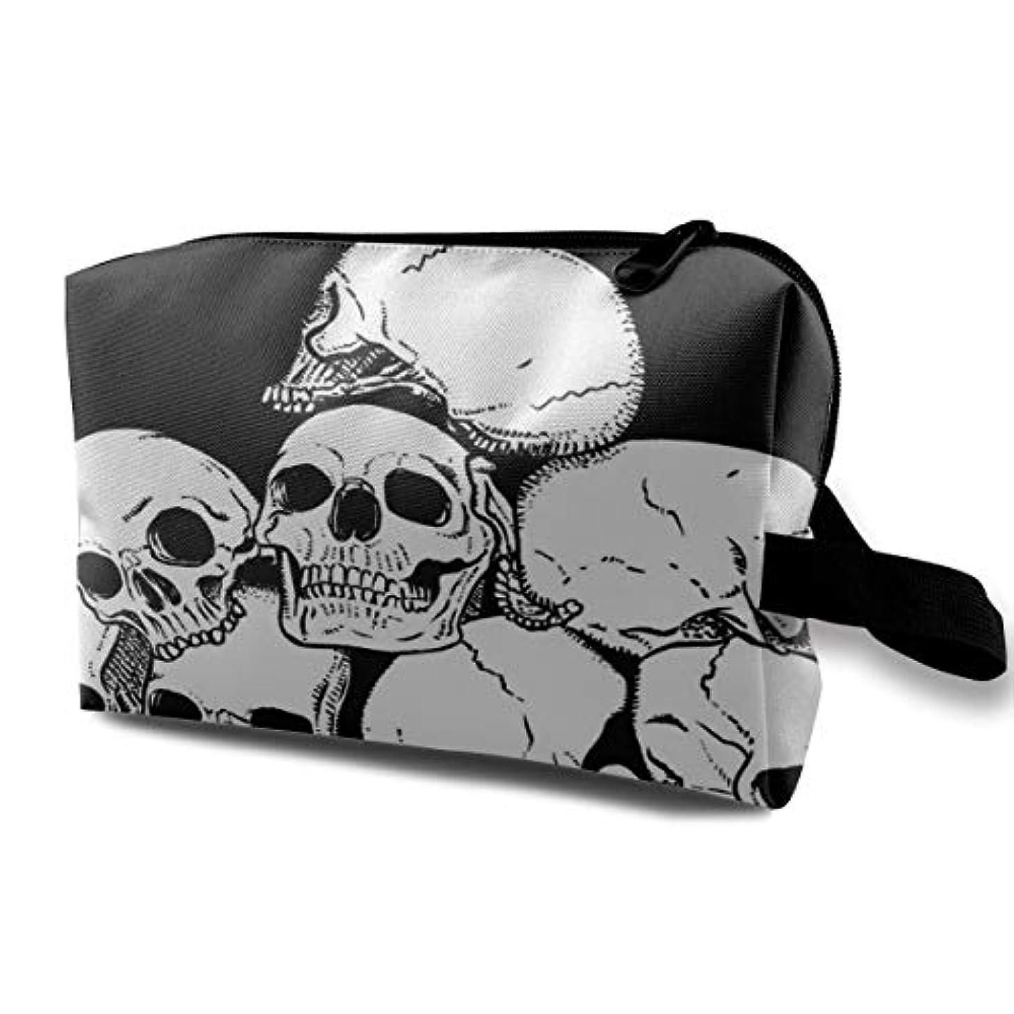 俳句ガレージ調和White Skull With Black Background 収納ポーチ 化粧ポーチ 大容量 軽量 耐久性 ハンドル付持ち運び便利。入れ 自宅?出張?旅行?アウトドア撮影などに対応。メンズ レディース トラベルグッズ