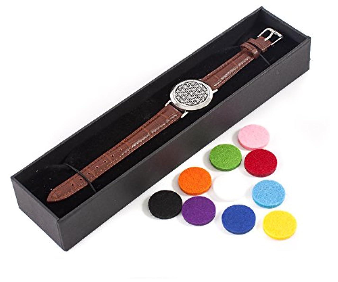 薄い場所合金Mystic Moments | Flower of Life | Aromatherapy Oil Diffuser Bracelet with Adjustable Brown Leather Strap