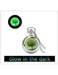 グリーンツリーは、ネックレスはダークシルバー時計ペンダントようこそ変更グリーンウェアラブルアートの時計宝飾品で光る時計輝きます