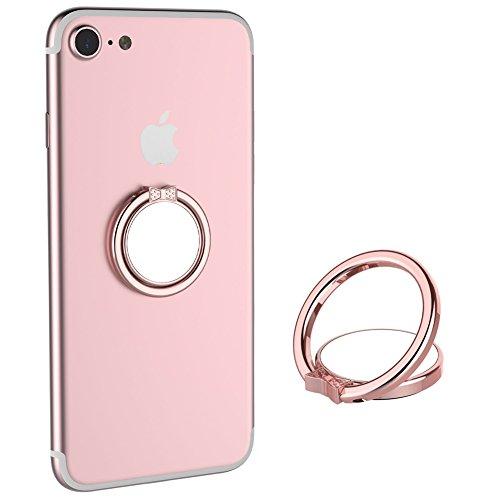 三つタンポポ スマホ リング スマホ 落下防止 車載ホルダー スタンド機能 ホールドリング かわいいDocomo/iPhone/iPad/iPod/Galaxy/Xperia ミラー 蝶形 全3色 (丸いピンク)