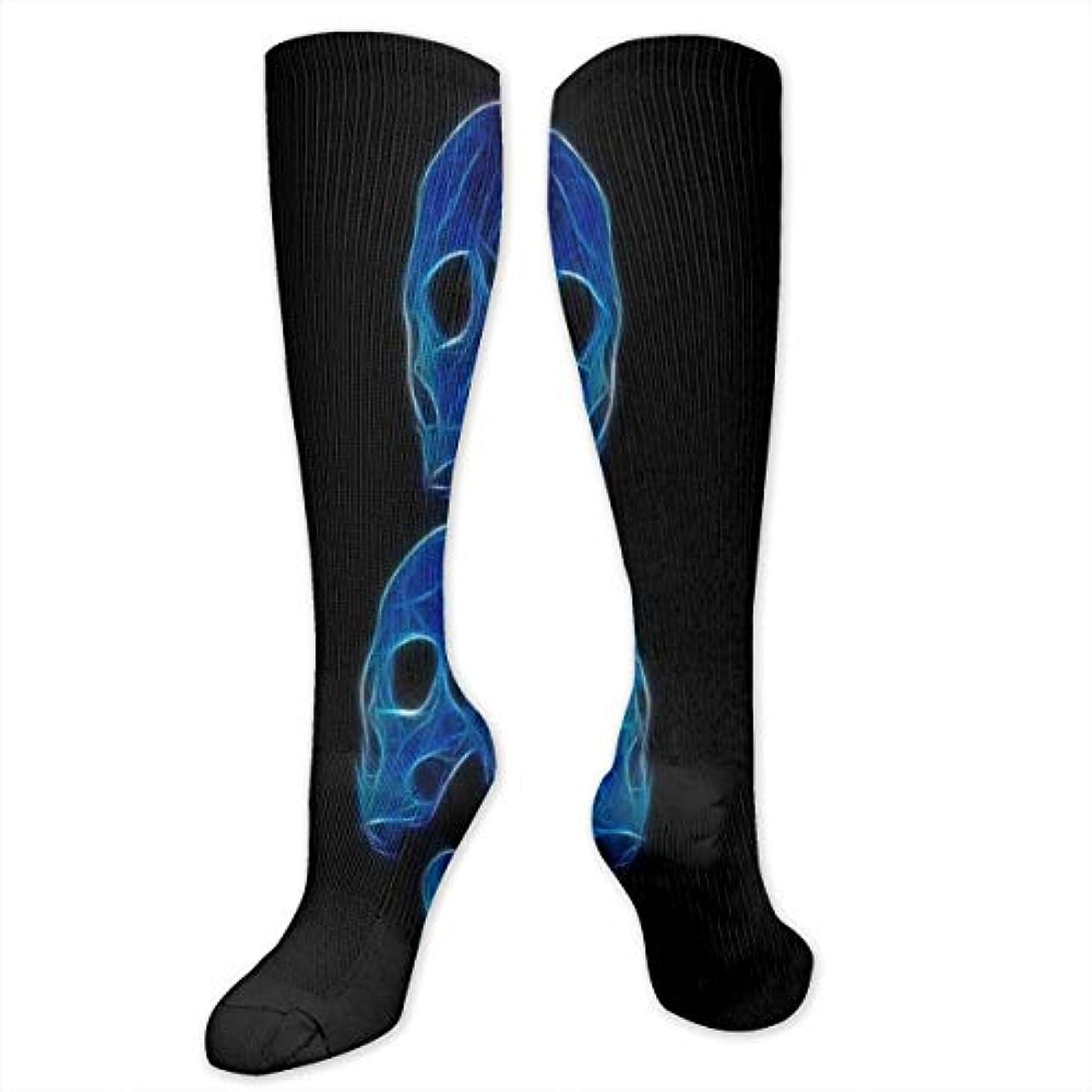 足枷商標標高スポーツのための女性の青い頭蓋骨低合金カラフルな柄のドレスソックスクルーソックス