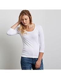 スリードッツ エッセンシャル Uネック 七分袖 Tシャツ 03.White