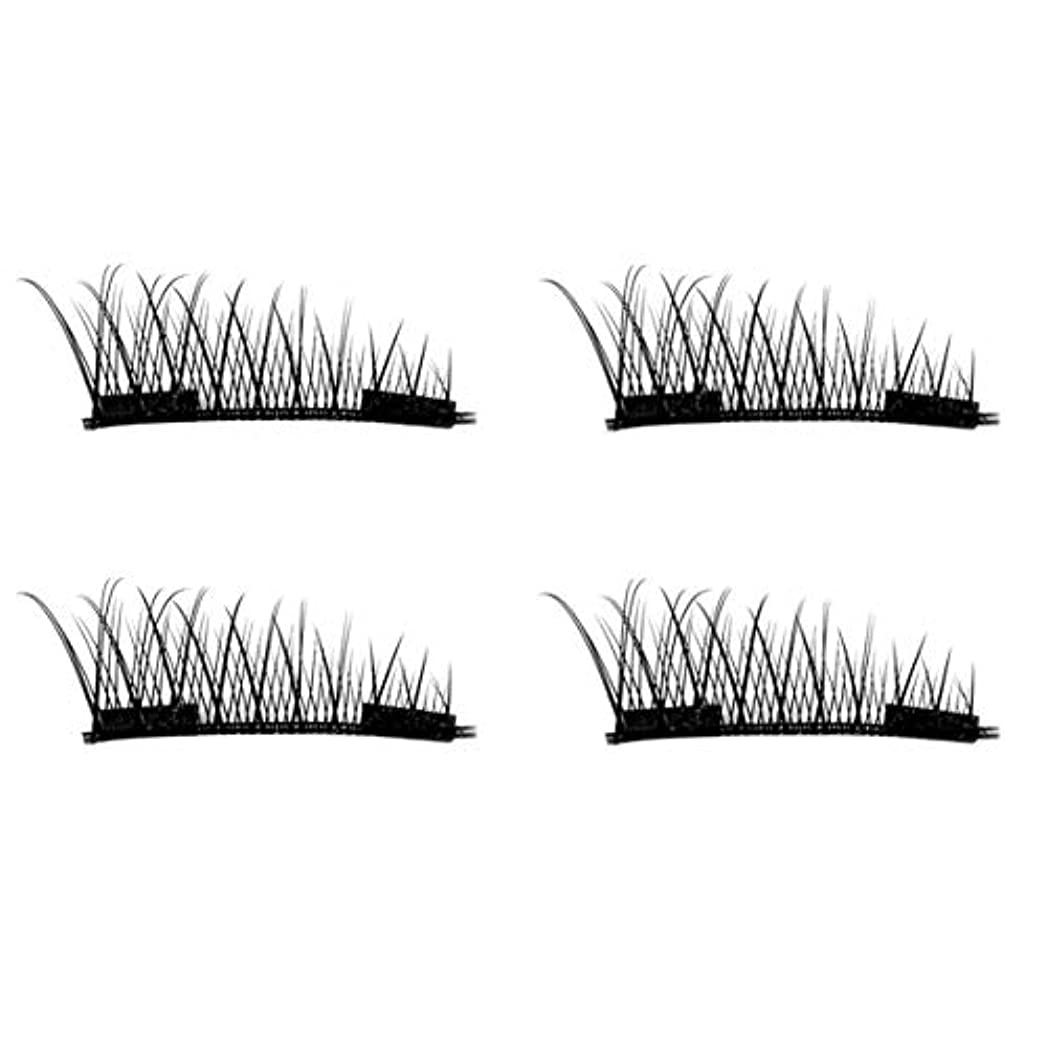 紳士懺悔人生を作るIntercorey 4PCS / 2ペアナチュラルシックアイまつ毛のりのない3D磁気女性アイメイク美容シックロングつけまつげ