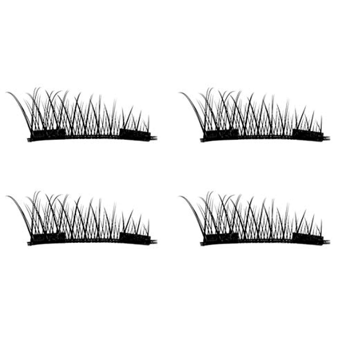 Intercorey 4PCS / 2ペアナチュラルシックアイまつ毛のりのない3D磁気女性アイメイク美容シックロングつけまつげ
