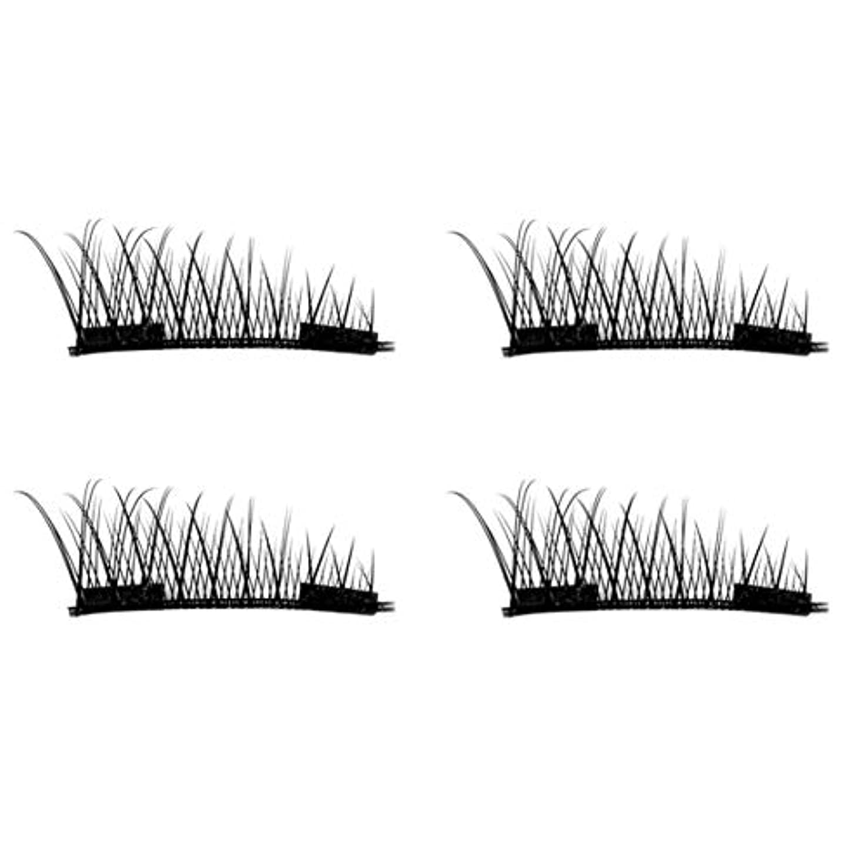 胆嚢接触ラダIntercorey 4PCS / 2ペアナチュラルシックアイまつ毛のりのない3D磁気女性アイメイク美容シックロングつけまつげ
