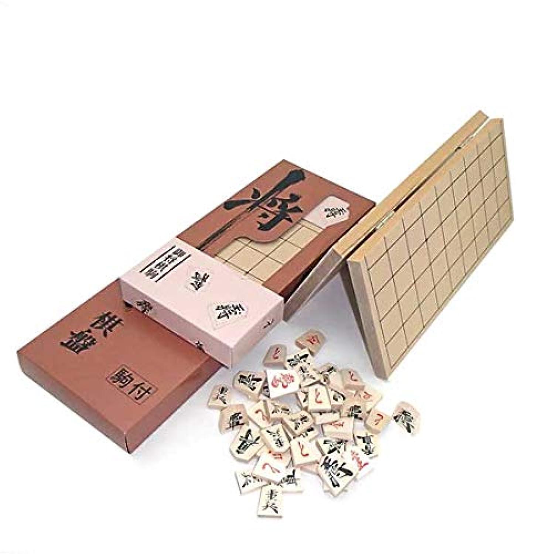 木製将棋盤セット 特選将棋セット(新桂4号折将棋盤と優良押し駒)箱入り