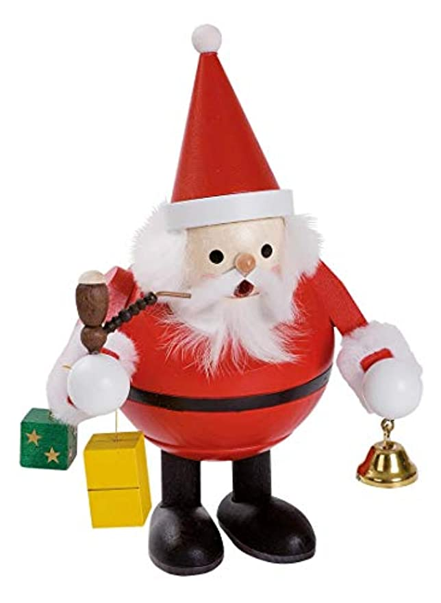 詳細に動小切手Santa Claus with Bell and presents German木製クリスマスIncense Smokerドイツ