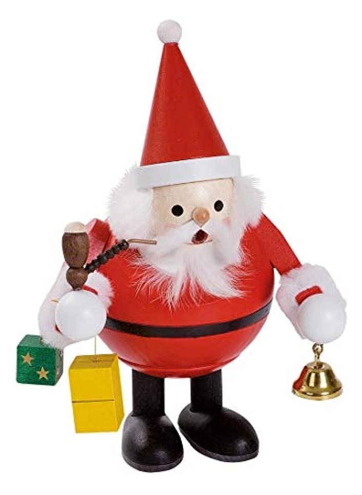 ボート偏見わなSanta Claus with Bell and presents German木製クリスマスIncense Smokerドイツ