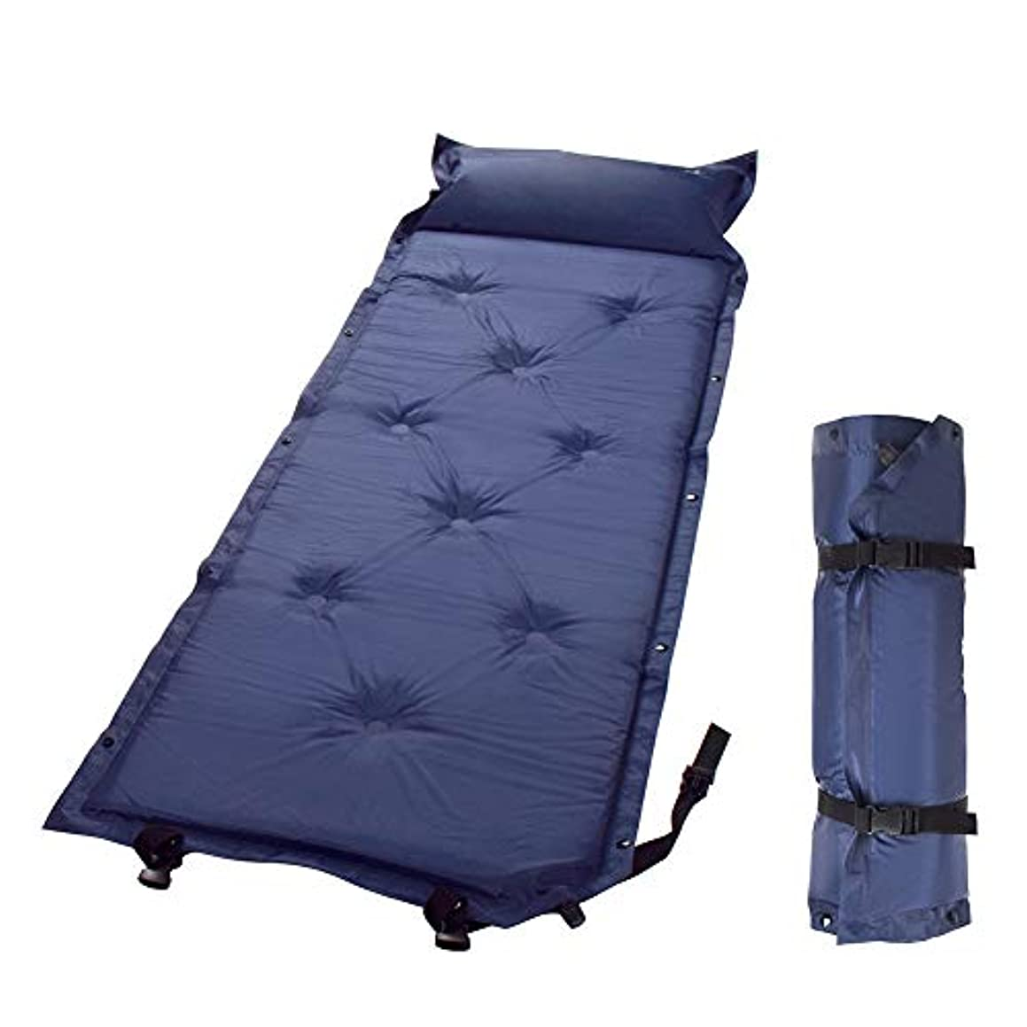 お勧めパワーバナナRAKUNOYA エアーマット キャンプマット テント マット アウトドア マット自動膨張 エアマットシンプル コンパクト 複数連結可能 エア―ピロー付き 軽量 防湿 エアーベッド 収納袋付き 携帯便利