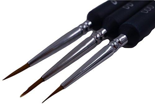 プラモデル筆 3本 セット ( 太さ #000-#0 )( 極 細 小 中 大 フィギュア 塗装 用品 プラモデル 模型 筆 )