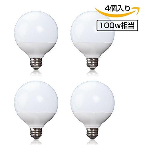 LED電球 E26口金 ボール形 ホワイト 外径95mm e26 100w相当 G95 広配光タイプ 電球色 一般電球 led照明 LEDライト 長寿命 省エネ (電球色 4個入り)