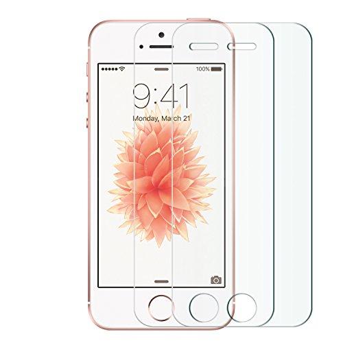 Nimaso 1枚入り / 2枚入り iPhone SE / iPhone 5S / iPhone5 / iPhone5c 専用 フィルム 日本旭硝子製 ガラスフィルム 強化ガラス 全面液晶保護フィルム 高鮮明・防爆裂・スクラッチ防止・気泡ゼロ等機能・硬度9H (4.0インチ For iPhone SE;2枚入り)