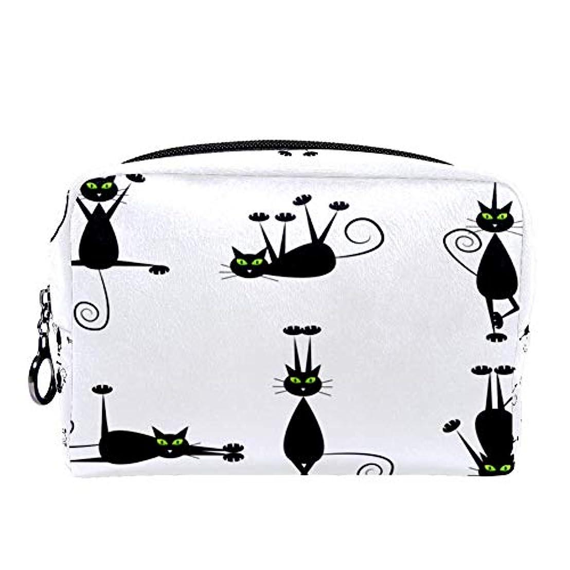 埋め込む好み光Dragon Sword 化粧ポーチ レディース 黒い 猫柄 コスメポーチ メイクポーチ 柔らかい コンパクト 軽量 化粧品収納 小物ポーチ出張 旅行 持ち運び便利