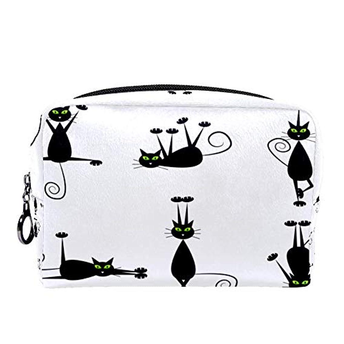 知らせる報復任命Dragon Sword 化粧ポーチ レディース 黒い 猫柄 コスメポーチ メイクポーチ 柔らかい コンパクト 軽量 化粧品収納 小物ポーチ出張 旅行 持ち運び便利