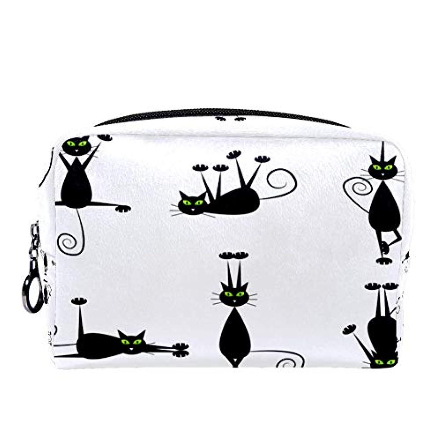 独立してニコチンクロニクルDragon Sword 化粧ポーチ レディース 黒い 猫柄 コスメポーチ メイクポーチ 柔らかい コンパクト 軽量 化粧品収納 小物ポーチ出張 旅行 持ち運び便利