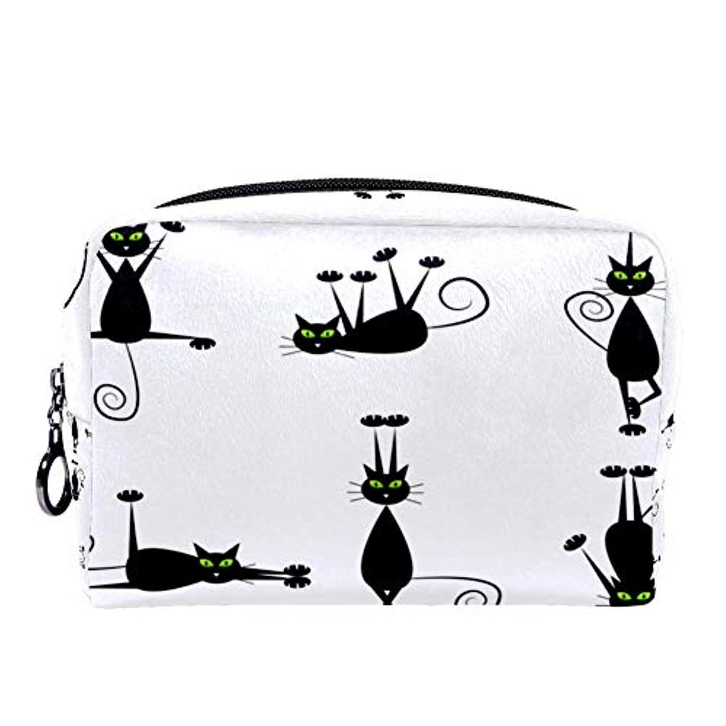 隔離するデンプシー無数のDragon Sword 化粧ポーチ レディース 黒い 猫柄 コスメポーチ メイクポーチ 柔らかい コンパクト 軽量 化粧品収納 小物ポーチ出張 旅行 持ち運び便利