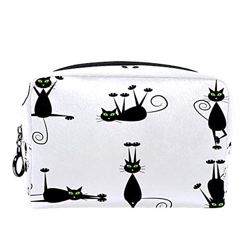 Dragon Sword 化粧ポーチ レディース 黒い 猫柄 コスメポーチ メイクポーチ 柔らかい コンパクト 軽量 化粧品収納 小物ポーチ出張 旅行 持ち運び便利