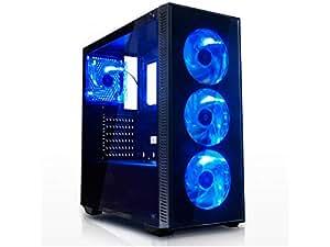 新元号「令和」記念セール★ゲーミングデスクトップPC 最新Ryzen 5 2400G搭載 / DDR4-8GB / office / USB3.0対応 / Win10 / 600W 80PLUS / ゲーミングベースパソコン (SSD480GBモデル, 青)