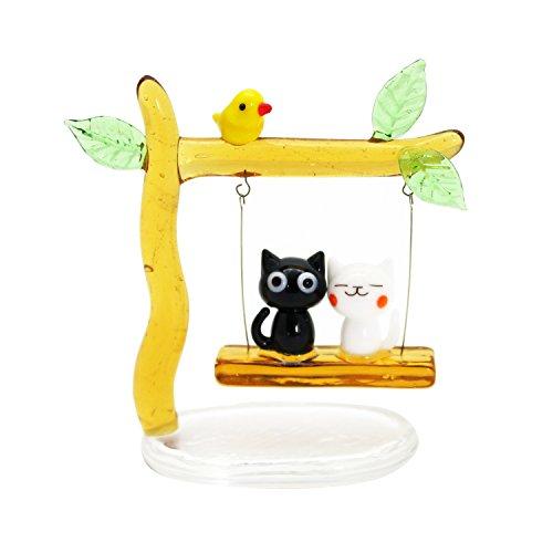 かわいい 猫 手作り ガラス細工 ブランコネコカップル CYK1354