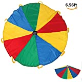 Play Parachute - Durable Giant Canopy/Tent with 8 Handles Cooperative Games Exercise Toy for Kids Indoor/Outdoor 6.6 Feet