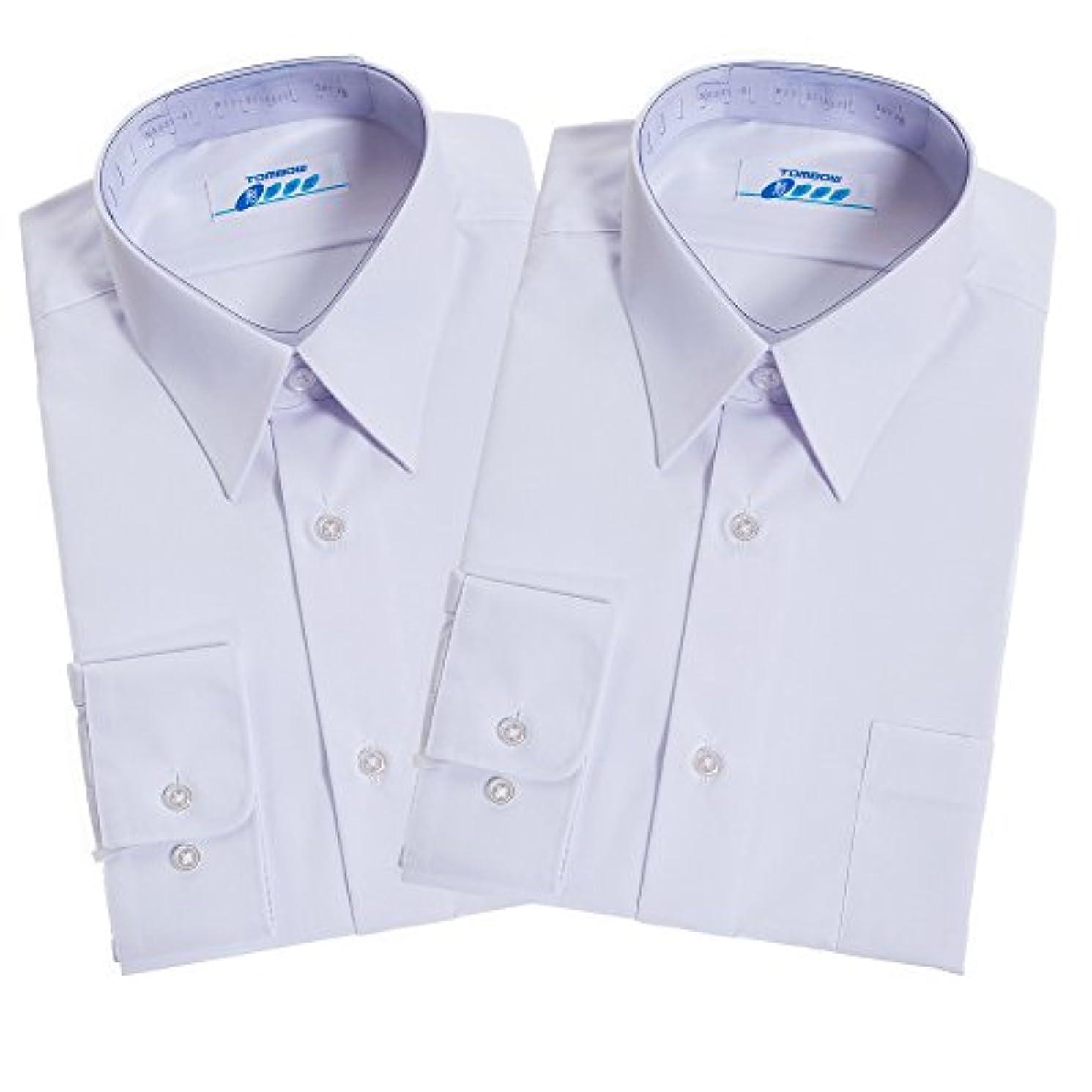 雄弁家用心する独創的トンボ(TOMBOW) スクールシャツ 男子 長袖 白 形態安定 抗菌防臭 A体 2枚セット 5A835-01【A35(155)】
