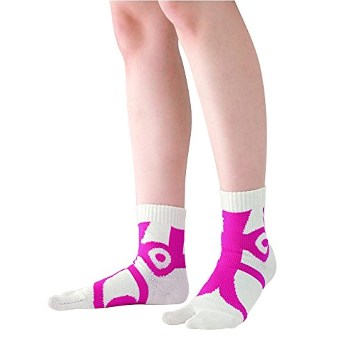 タイプライター入場料ペストリー快歩テーピング靴下 ホワイト×ピンク