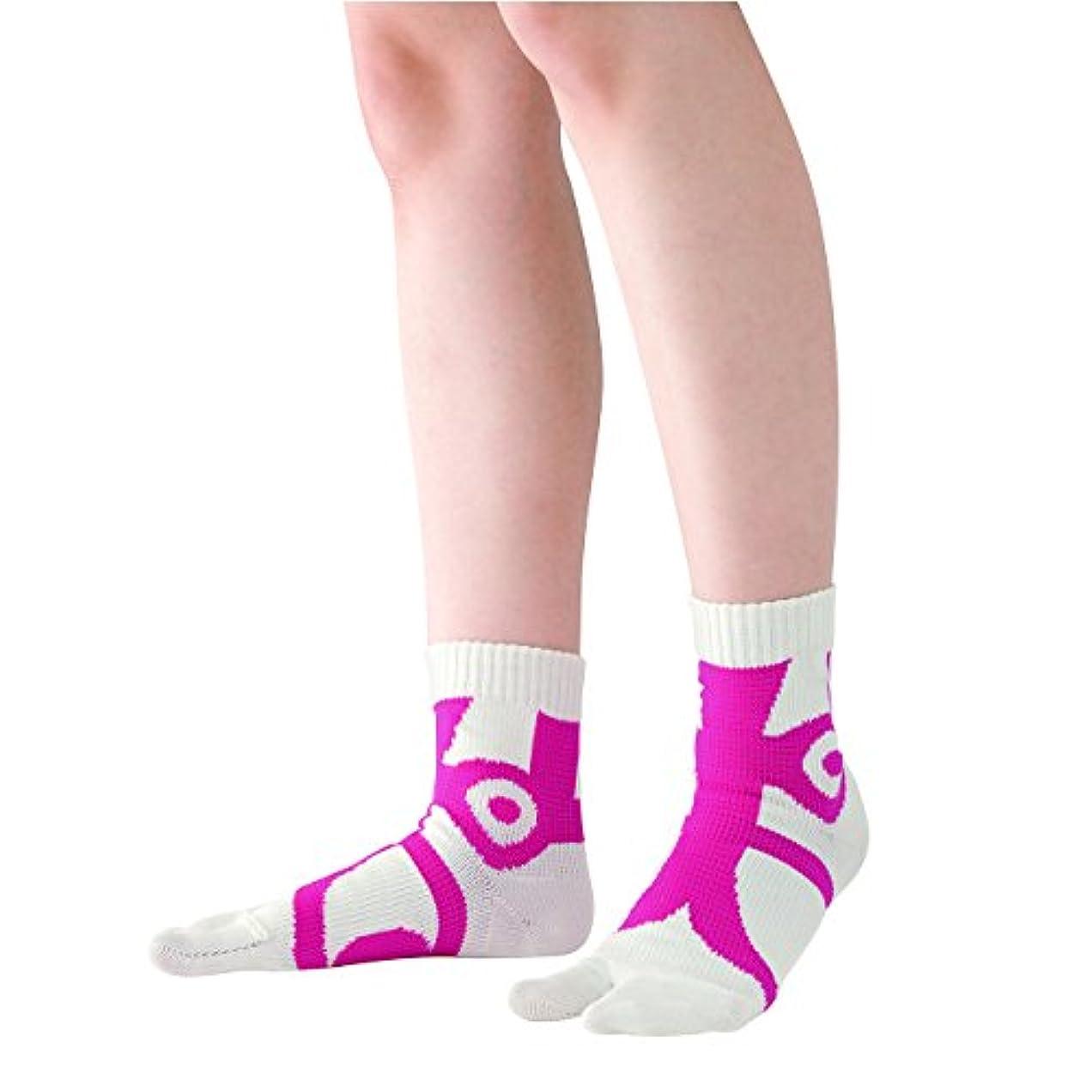 ウール散歩に行く成功した快歩テーピング靴下 ホワイト×ピンク