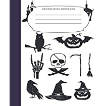 Composition Notebook: 7.5X9.25 Inch 109 Pages Halloween Themed Pictures Half Blank Half Wide Ruled School Exercise Book With Picture Space For Kids and Adults - Grades K2 Primary Elementary Secondary School Kids - Draw And Write Your Own Stories