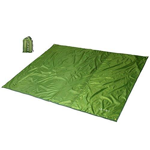 KUMFI 折りたたみ レジャーシート 軽量 防水 薄型 テントシート アウトドア グランドシート ピクニックマット 日よけ キャンプ フェス タープ 収納袋付き (アーミーグリーン, L(220x240cm))