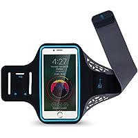 GIMart ランニングアームバンド スポーツアームバンド 【指紋識別&タッチ OK!】ランニング/ジョギング/マラソン/ウォーキングアームバンドケース 防汗 軽量 小物収納 調節可能 イヤホーンコード キーポケット付き iPhoneX、iPhone6/7/8plus、Samsung、Androidなど 6インチまでのスマホに対応 (L)