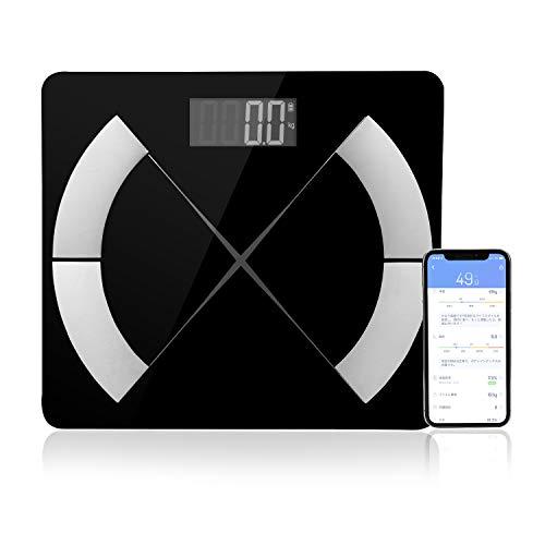 HOMEINNK 体脂肪計 体重・体組成計 デジタル スマホ対応 電池式体重計 Bluetooth スマート体重計 体重 骨格筋 筋肉量 体脂肪率 体水分量 基礎代謝 BMIなど測定可能 iPhone/Androidアプリで健康管理 肥満予防 日本語対応APP対応 おまけのメジャーと電池2枚付き プレゼント用 ブラック