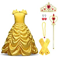 Enterlife Girls Belle Costumes Princess Dress Layered Off Shoulder Dress up for Party Halloween