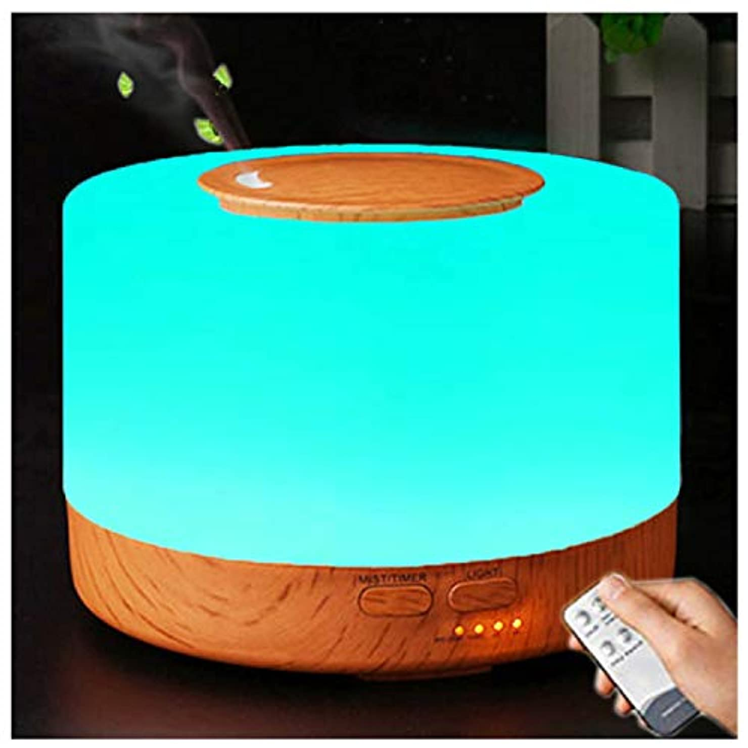 誇りに思う器用オッズアロマディフューザー 加湿器, 卓上 大容量 超音波加湿器, 500ML 保湿 時間設定 空焚き防止 7色変換LED搭載 (木目調)