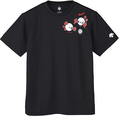 DESCENTE(デサント) バレーボール バボちゃん 半袖プラクティスシャツ DVA5740 ブラック(BLK) L
